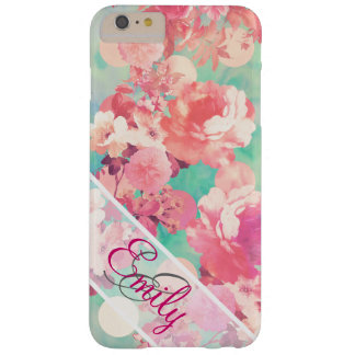 Monogram Pink Retro Floral Pattern Teal Polka Dots Barely There iPhone 6 Plus Case
