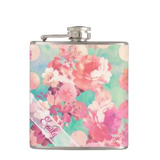 Monogram Pink Retro Floral Pattern Teal Polka Dots Hip Flasks