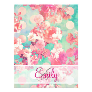 "Monogram Pink Retro Floral Pattern Teal Polka Dots 8.5"" X 11"" Flyer"