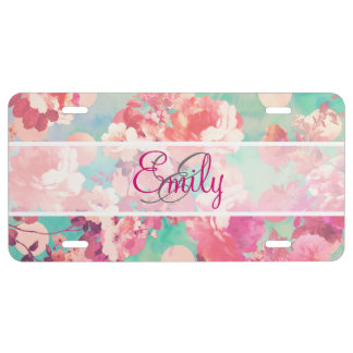 Monogram Pink Retro Floral Pattern Teal Polka Dots License Plate