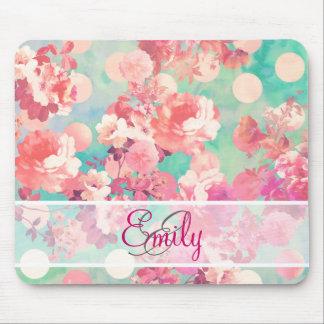 Monogram Pink Retro Floral Pattern Teal Polka Dots Mouse Pad