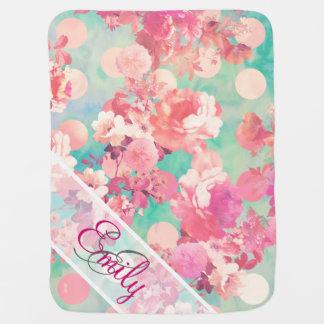 Monogram Pink Retro Floral Pattern Teal Polka Dots Swaddle Blankets
