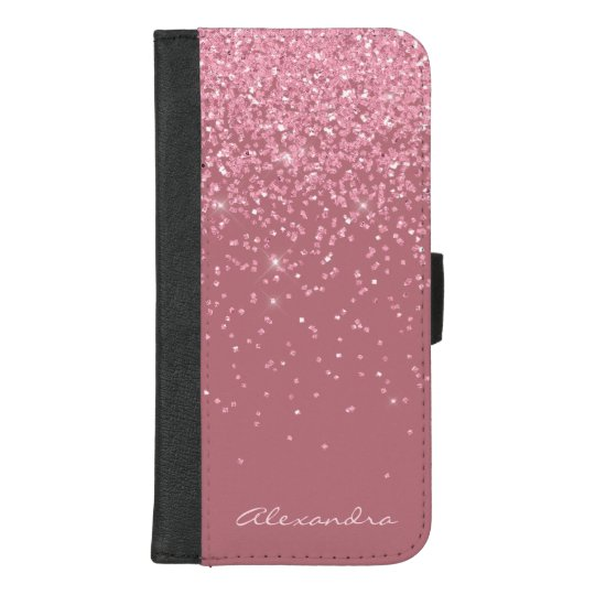 Monogram Pink , Rose Gold and Glitter Background iPhone Wallet Case