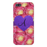 Monogram pink rose purple glitter heart cover for iPhone 5