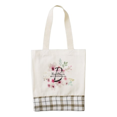 Monogram Pink Rose TEACHERS Thank You Gifts Zazzle HEART Tote Bag