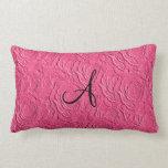 Monogram pink roses faux texture pillow