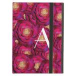 Monogram Pink roses iPad Cover