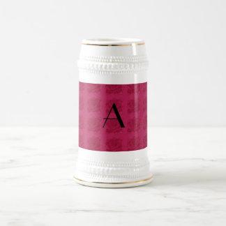 Monogram pink roses pattern mug