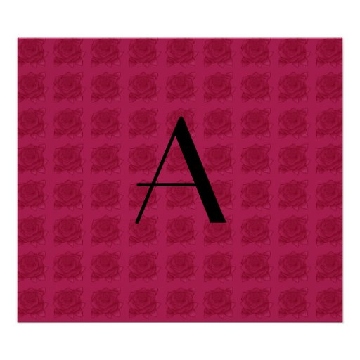 Monogram pink roses pattern posters