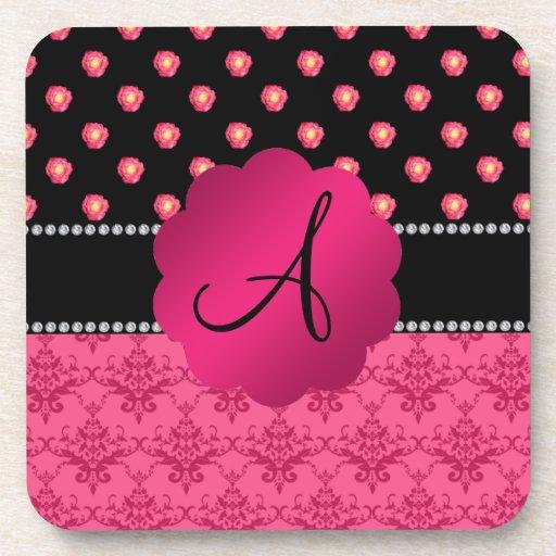 Monogram pink roses pink damask drink coasters