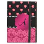 Monogram pink roses pink damask iPad cover