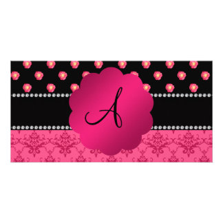 Monogram pink roses pink damask photo card