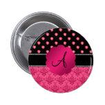 Monogram pink roses pink damask pinback button