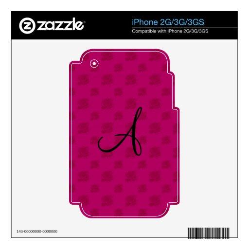 Monogram pink roses skins for iPhone 3G