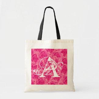 Monogram Pink Roses ToteBag Letter A Tote Bag