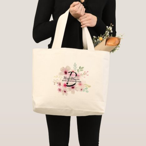 Monogram Pink Rosse TEACHER Thank You Gifts Large Tote Bag