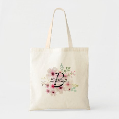 Monogram Pink Rosse TEACHER Thank You Gifts Tote Bag