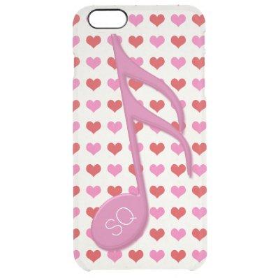 Monogram Pink Semi Quaver Love Hearts Music Clear iPhone 6 Plus Case