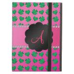 Monogram pink shamrocks and hearts iPad cover
