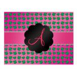 Monogram pink shamrocks and hearts postcard