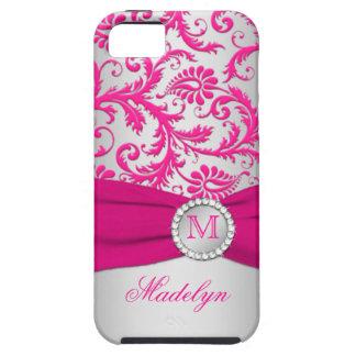 Monogram Pink, Silver Damask iPhone 5 Case