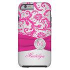 Monogram Pink, Silver Damask iPhone 6 case