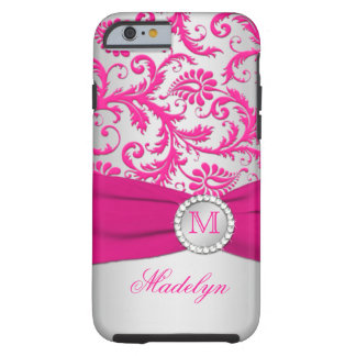 Monogram Pink, Silver Damask iPhone 6 case