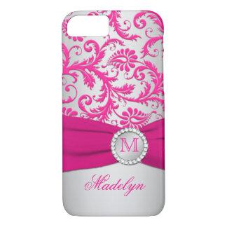 Monogram Pink, Silver Damask iPhone 7 Case