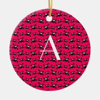 Monogram pink skulls ornaments