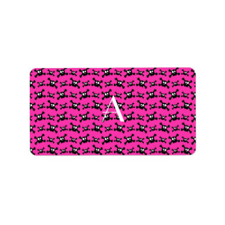 Monogram pink skulls pattern label