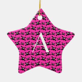 Monogram pink skulls pattern christmas tree ornament
