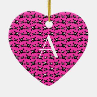 Monogram pink skulls pattern ornament