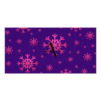 monogram pink snowflakes purple custom photo card