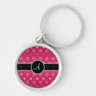 Monogram pink snowman trellis pattern key chain