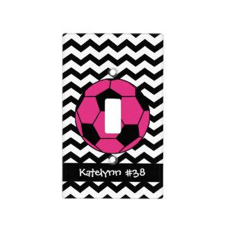 Monogram Pink Soccer Ball Light Switch Plate Cover