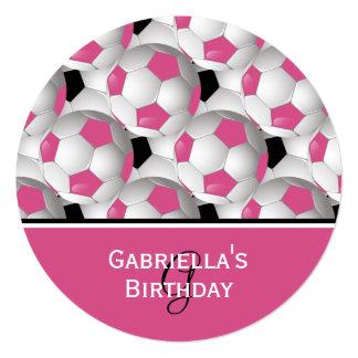Monogram Pink Soccer Ball Pattern Birthday Party Card