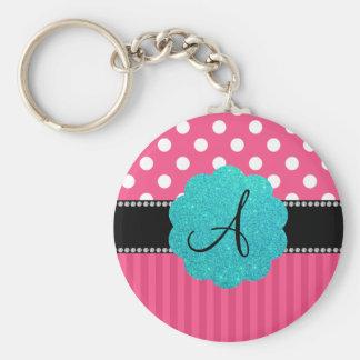 Monogram pink stripe polka dots basic round button keychain