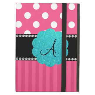 Monogram pink stripe polka dots case for iPad air