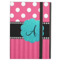 Monogram pink stripe polka dots iPad case