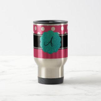 Monogram pink stripe polka dots travel mug