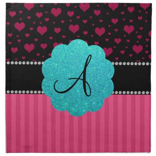 Monogram pink stripes hearts napkins