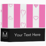 Monogram Pink Stripes Modern Heart Pattern 3 Ring Binder