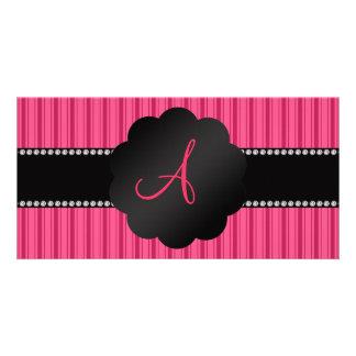 Monogram pink stripes photo greeting card