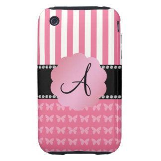 Monogram pink stripes pink butterflies tough iPhone 3 covers