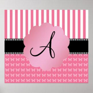 Monogram pink stripes pink butterflies print