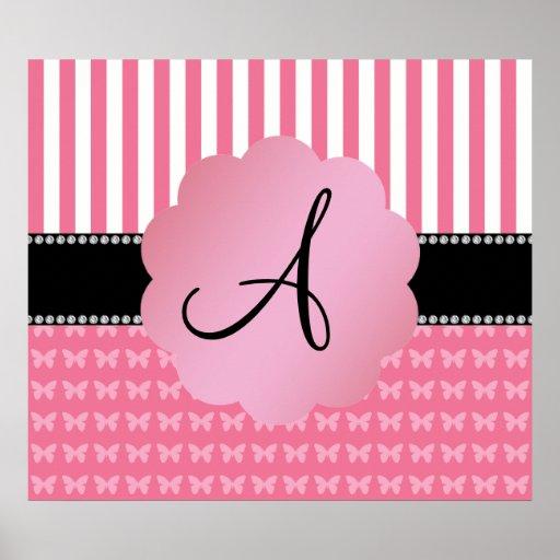 Monogram pink stripes pink butterflies poster