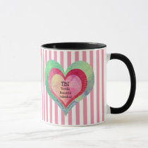 Monogram Pink Stripes TBI Hearts Mug