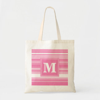 Monogram pink stripes tote bag