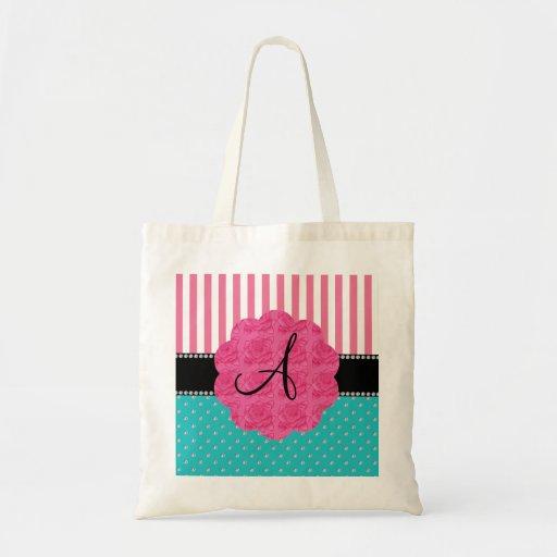 Monogram pink stripes turquoise diamonds canvas bags