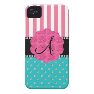 Monogram pink stripes turquoise diamonds Case-Mate iPhone 4 case